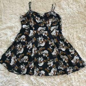 OLD NAVY black floral spaghetti strap dress